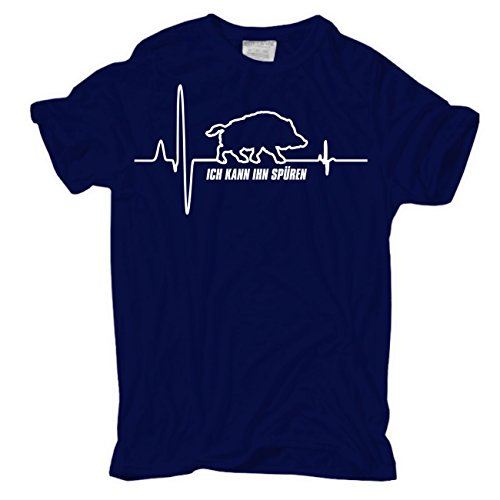 Männer und Herren T-Shirt Keiler Herzschlag körperbetont dunkelblau