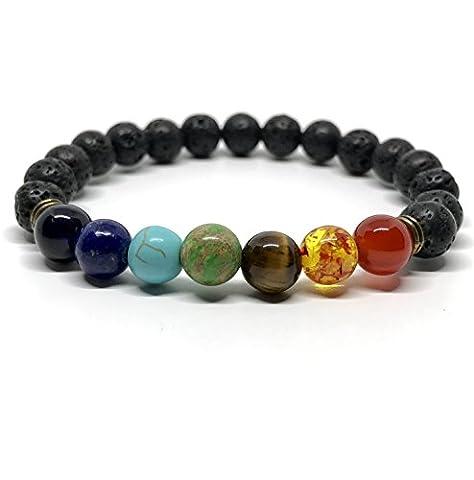 GOOD.designs Chakra-bracelet de perles, Pierre de Lave - Perle de 8mm, 7 Chakren