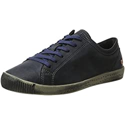 Softinos Damen Isla Washed Sneaker, Blau (Navy-548), 41 EU