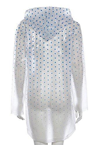 SS7 - Veste Plastique Transparente Imperméable pour Femme Pois bleu