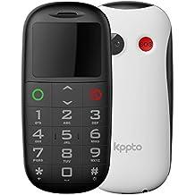 Telefono cellulare per anziani Kppto, Bottone grande, cellulare mobile , pulsante SOS, display da 1,77 pollici ,Colore Bianco