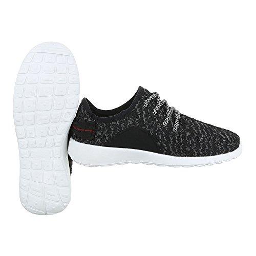 Sportschuhe Damenschuhe Geschlossen Sneakers Schnürsenkel Ital-Design Freizeitschuhe Schwarz