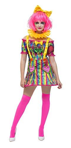Fever Damen Flickarbeiterin Clown Kostüm, Kleid mit angebrachten Hosenträgern, Fliege und Kopfband, Größe: 32-34, 47015