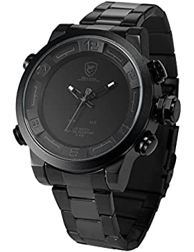 Shark Analog LED Digital Armbanduhr XXL Schwarz Edelstahl Uhrband Weckerfunktion SH364