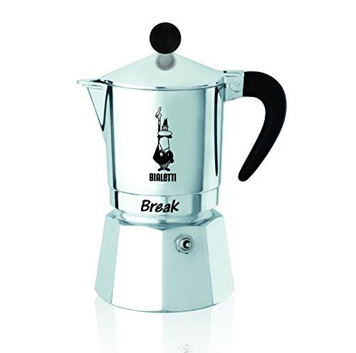 Bialetti Break Caffettiera Espresso Tazza 1, Alluminio, Grigio, 11x7x14 cm