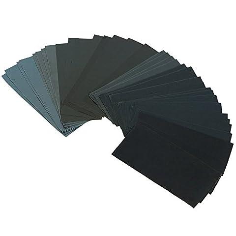 [ 36 Stück 400-3000 ] GIMARS Schleifpapier Sortiment Trocken / Nass Sandpapier, 9 x 3,6 Zoll, Körnung 400-3000, für Automobil Schleifen, Holzmöbellackierung, Veredelung, Holzverarbeitung