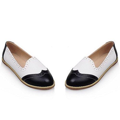 AllhqFashion Femme Tire Rond à Talon Bas Pu Cuir Couleurs Mélangées Chaussures à Plat Noir