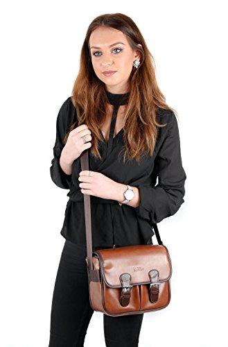 DuraGadget - Tasche in 3 Tragevarianten - Schultertasche | Gürteltasche | Tragetasche für Ihren Camcorder Seree HDV-520 | HDV-S14 | HDV-S38, sowie Platz für Zubehör Braun Kunstleder