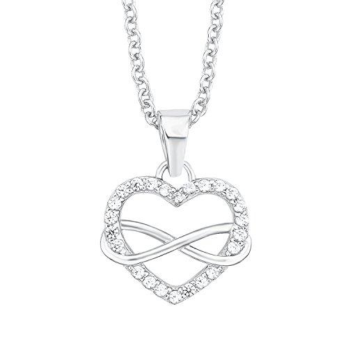 S.Oliver Damen Ketten mit Herz-Infinity Anhänger aus rhodiniertem 925er Sterling Silber und Zirkonia weiß