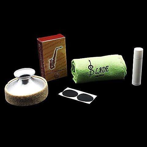 Intellatrust TM- 5-in-1 per Sax Alto Sax Mute in lega di alluminio per bocchino in bambù, panno per pulizia dell'ancia con grasso per sughero