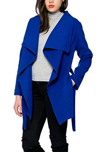 Kendindza Damen Mantel Trenchcoat mit Gürtel OneSize Lang und Kurz (One Size, Royalblau Kurz) Herbst Winter Mantel