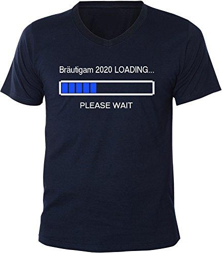 Mister Merchandise Herren Men V-Ausschnitt T-Shirt Bräutigam 2020 Loading Tee Shirt Neck bedruckt Navy