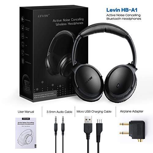 KAMTRON Bluetooth Kopfhörer Noise Cancelling Kabellos - HiFi Stereo Bass Over Ear Headset mit Mikrofon, 26-Stunden-Wiedergabezeit, Flugzeugadapter, faltbar für Reisen und Arbeiten, PC/Handy / TV - 7