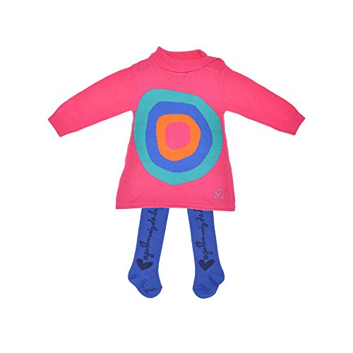 Agatha Ruiz De La Prada Baby 2tlg. Set Baby Strickkleid & Strumpfhose, Mädchen Outfit, CANICAS 9231W15, Fuchsia, 18M (80cm)