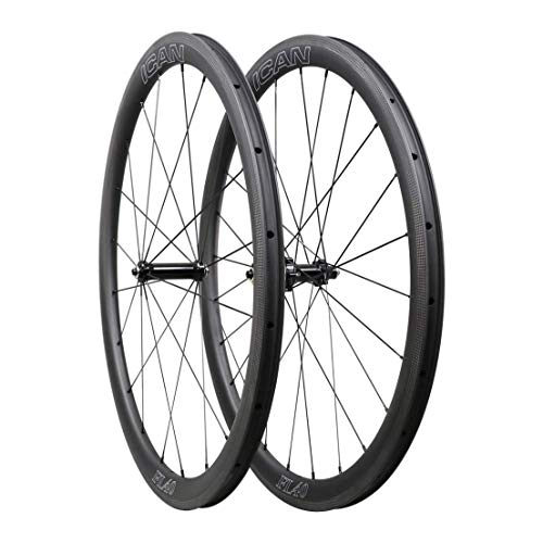QIQI Bikes Carbon Laufräder Rennrad 40mm Clincher Tubeless Ready TLR Straight Pull Sapim CX-Ray Speiche (Schnelle & Leichte Serie) 1400g (Laufräder Carbon Rennrad)
