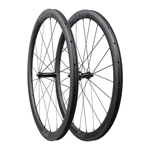 QIQI Bikes Carbon Laufräder Rennrad 40mm Clincher Tubeless Ready TLR Straight Pull Sapim CX-Ray Speiche (Schnelle & Leichte Serie) 1400g -