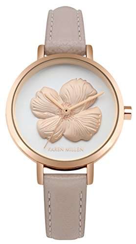 Karen Millen Womens Analogue Classic Quartz Watch with Leather Strap KM126C