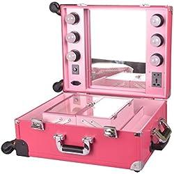 Maquillaje profesional Train Case Trolley Cosmetic Rolling Organizer con luz LED, espejo, 4 ruedas extraíbles universales y 4 bandejas desmontables