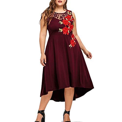 Kleid 50er Jahre Rockabilly Damen Vintage Polka Dots Blumendruck Bodycon Ärmellos Casual Abend Prom Swing Kleid Röcke Petticoat -