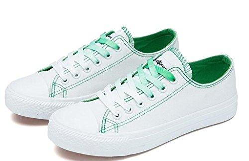 Shfang Sapatos De Senhora Clássico Verão Principal Cama E Pequeno-almoço Lona Lazer Movimento Confortáveis estudantes Que Executam Diariamente Quatro Cores Verde
