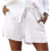 2019 Pantalones Mujer Verano Casual Pantalones Cortos De AlgodóN SóLido De Moda con Cordones