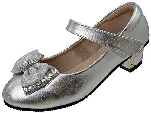 Enfants Filles Fermeture Scratch Fête D'enfants Talons Demoiselle D'honneur Verni Fancy Chaussures Argent