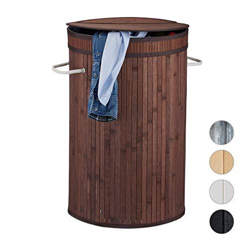 Relaxdays Wäschekorb Bambus, runder Wäschesammler mit Klappdeckel, 65 l, faltbare Wäschetonne, rund Ø 40 cm, braun