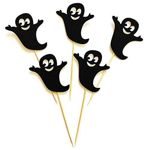 Xuniu 5 Stücke Halloween Spooky Ghost Cupcake Topper Kuchen Picks Geburtstag Baby Shower ()