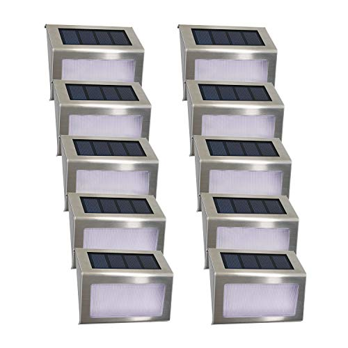 Solarleuchte Garten Solarlampen 4 LED Easternstar solar Beleuchtung Wandleuchte Aussenleuchten Wegeleuchte wasserdicht für außen Wand Terrasse Zaun Balkon Treppe Dachrinne mit Lichtsensor (10er Set)