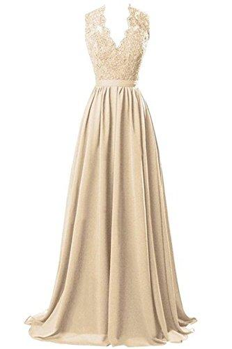 CoutureBridal® Robe Femme Maxi V-col de Soirée Bal en Chiffon et Dentelle Champagne