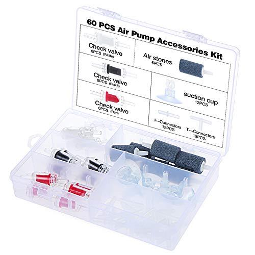 HSEAMALL Aquarium Luftpumpe Zubehör,mit Luftsteinen, Rückschlagventil, Saugnäpfen und Verbindungsstücken
