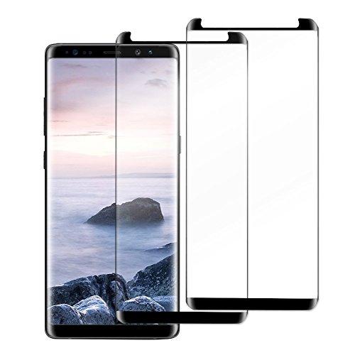 Samsung Galaxy Note 8Displayschutzfolie (2er-Pack, schwarz) aus gehärtetem Glas (Härtegrad 9), kratzfest, volle Abdeckung, 3D-geformt, blasenfrei, mit Installationshilfe von Goodsmiley
