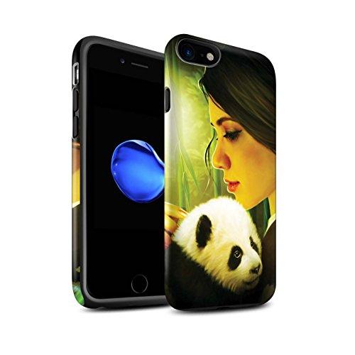 Officiel Elena Dudina Coque / Matte Robuste Antichoc Etui pour Apple iPhone 8 / Jacinthe Design / Les Animaux Collection Petit Panda/Bambou