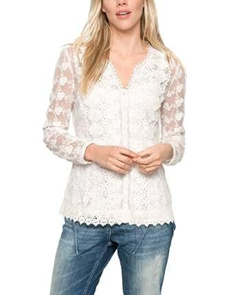 Comma CI Damen Regular Fit Bluse LANGARM 88.404.11.6382, Gr. 44, Weiß (offwhite)