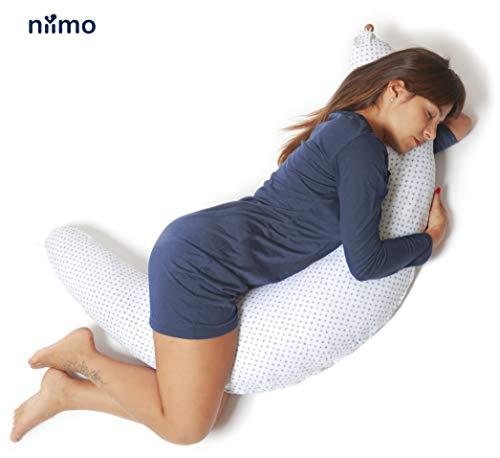 Niimo Almohada Embarazada Dormir y Cojin Lactancia Bebe Multifuncion Funda Cojin 100% Algodon Desenfundable...