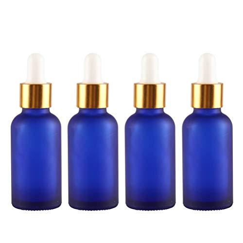 4er 30 ml 1 oz Leer Blau Matt Pipettenflaschen mit Gold Kreis inkl. Pipetten/Pipettenflasche/glasflasche mit Pipette/Glaspipette//Tropfpipette/Tropfpipetten