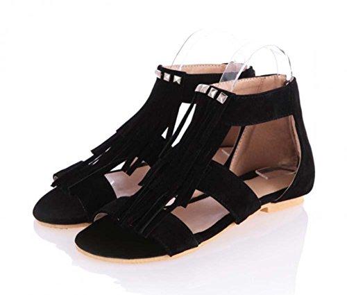 NobS Roman Sandals Nappa Rivetta Sandali Piani Grandi Donne Scarpe Zipper Punta Aperta Black