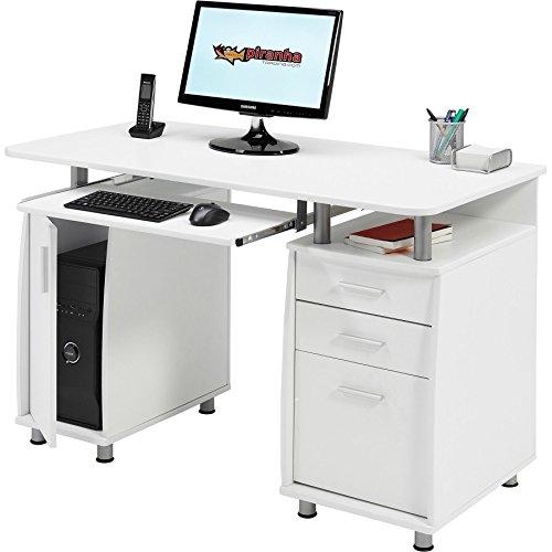 Großer Computer und Schreibtisch mit Registratur A4, 2Stationery Schubladen & Schrank für Home Office in Weiß Holzmaserung Piranha PC 2s - Schrank Schreibtisch Weiß