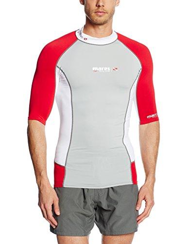 Mares adulto la maschera-Shirt a maniche corte Rash Guard muta maglia S-Sleeve DC, Grey/White/Red, S, 412980