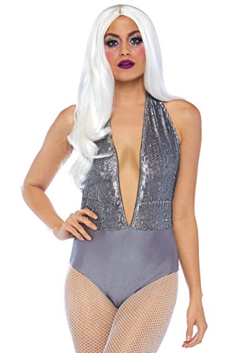 Leg Avenue 8674001025 Halter Bodysuit mit schimmernden Pailletten, Damen, Grau, Größe S (EUR34-36)