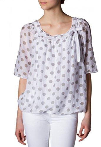 CASPAR Damen leichte Seiden Sommerbluse mit weißen Punkten - viele Farben - BLU001 Grau / Weiß