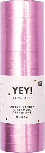 �s Party Luftschlangen glänzend Partydeko Dekorartion 18 Stück Rosa-Matt ()
