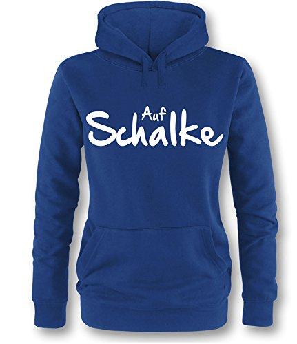 Auf Schalke Damen Hoodie Royal - Weiß in Größe L