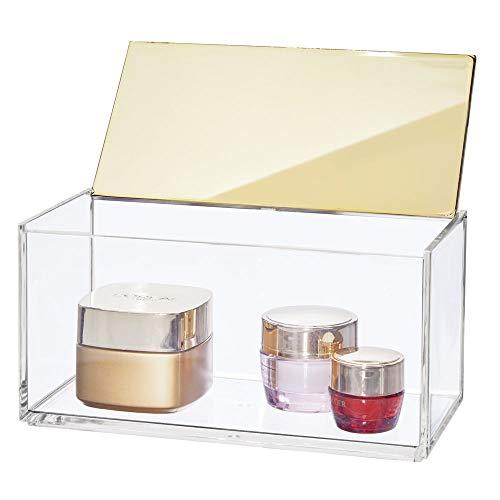 mDesign große Kosmetikbox mit Deckel - ideale Körperpflege Aufbewahrung für das Bad oder den Schminktisch - praktische Schminkaufbewahrung für Kosmetik & Co. - durchsichtig und messingfarben