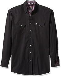 Wrangler Mens Big and Tall George Strait Troubadour Two Pocket Woven Shirt, Black, LT