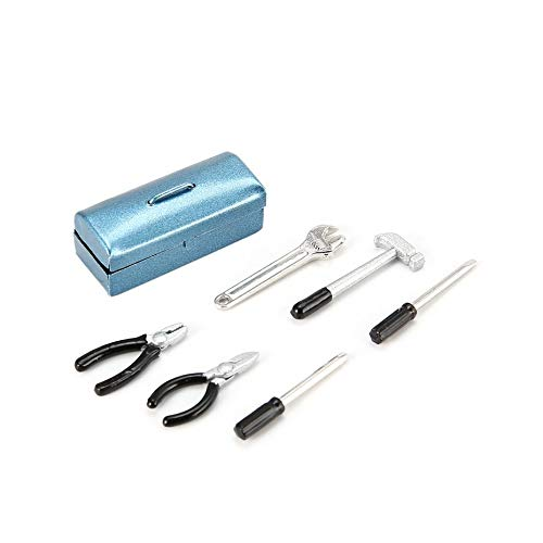 Mini RC Dekoration Metall Werkzeug Spielzeug Modell Schraubenschlüssel Hammer Schraubendreher Zangen Set Koffer für RC Car Crawler Axial SCX10 - Blau