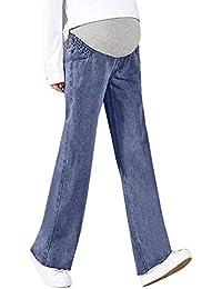 Lonshell Locker Schwangerschaftshose Komfortable Umstandsjeans mit Bauchband Denim-Look Straight Umstandshose Mutterschafts Damen Freizeithose Umstandsleggings Jeans