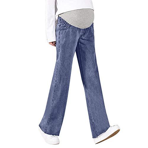 Ansenesna Ropa Premamá Talla Grande Invierno Moderna Primavera Mujer Embarazada Pantalones Vaqueros Maternidad PantalóN EnfermeríA Prop Legging Vientre (Azul, L)