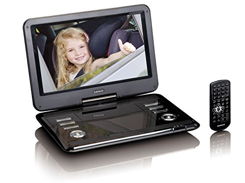 Lenco DVP-1210 tragbarer DVD-Player 12 Zoll (29,5 cm) mit HD Auflösung (1.366 x 768) drehbarem Display und Li-Io Akku mit 2.200 mAh (USB, SD, AV, 2 Lautsprecher), Netzadapter