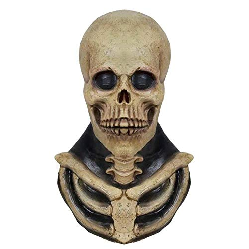 Latex Maske Halloween,Neuheit Horror Skelett Skull Zombie Latex Maske Haunted House Scary Requisiten, Unisex-Adult Für Halloween Kostüm Party Kostüm - A Doll's House Spielen Kostüm